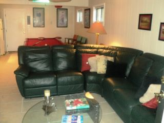 Game Room with leather sofa and TV, touchdown!